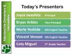 today s presenters