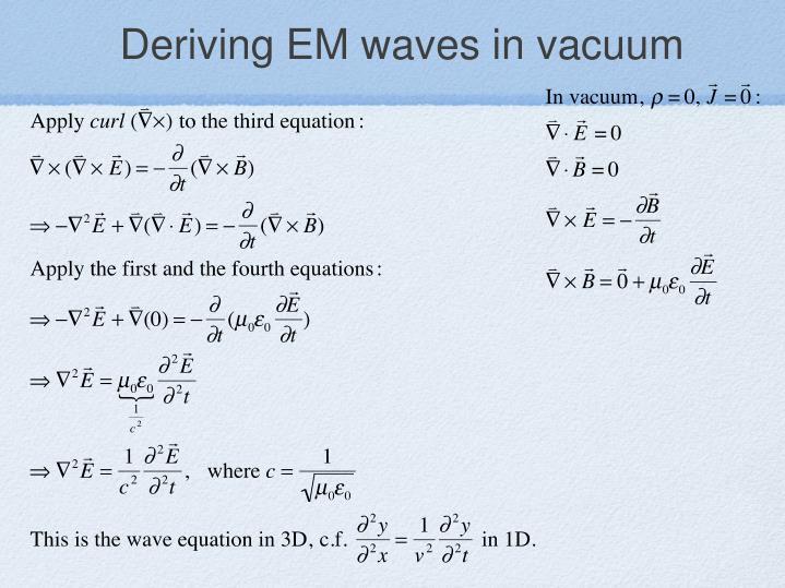 Deriving EM waves in vacuum