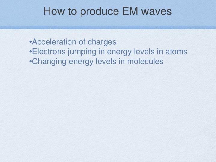 How to produce EM waves