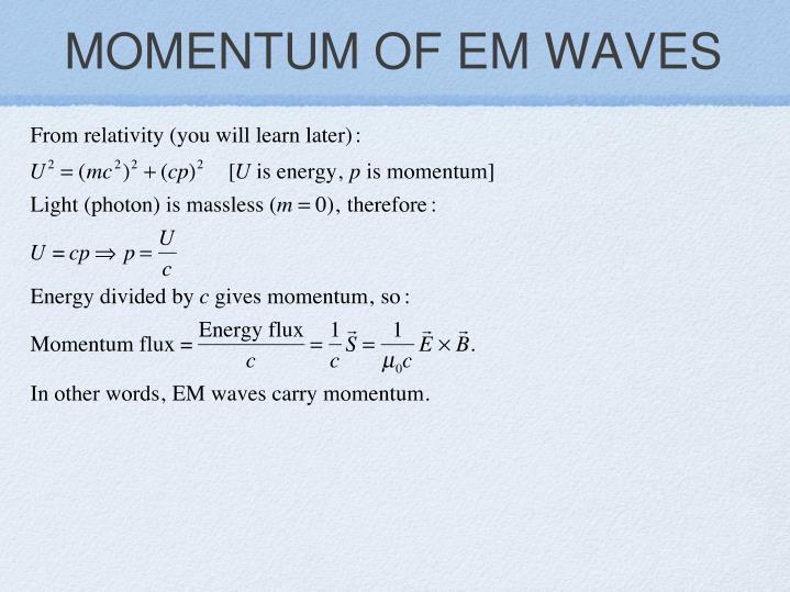 MOMENTUM OF EM WAVES