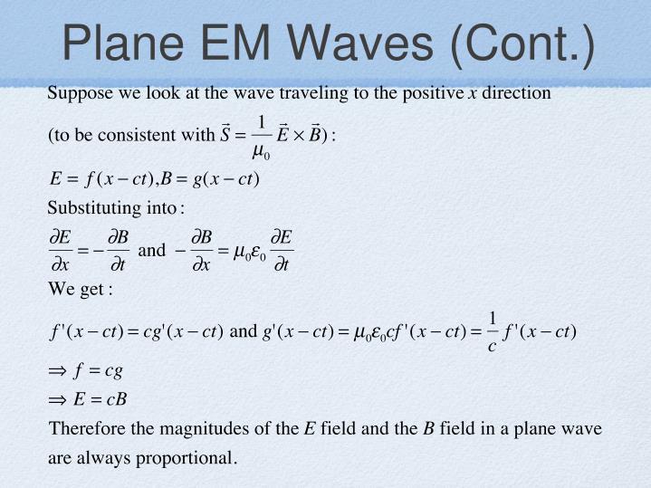 Plane EM Waves (Cont.)