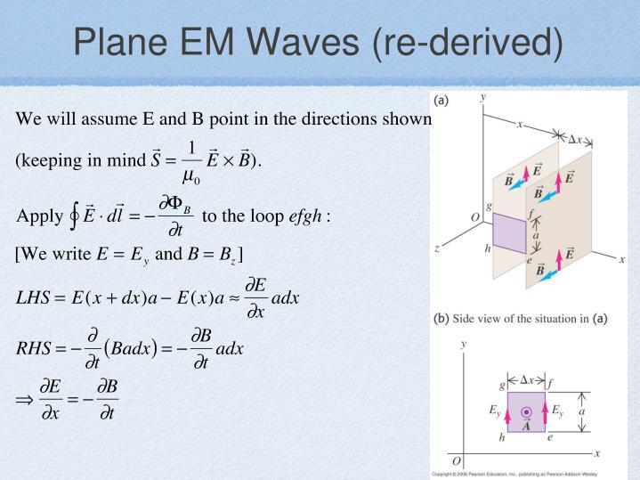 Plane EM Waves (re-derived)