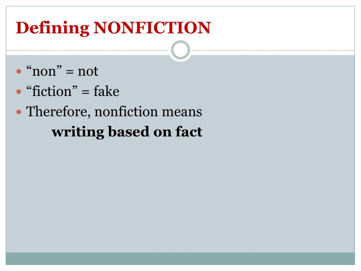 Defining NONFICTION
