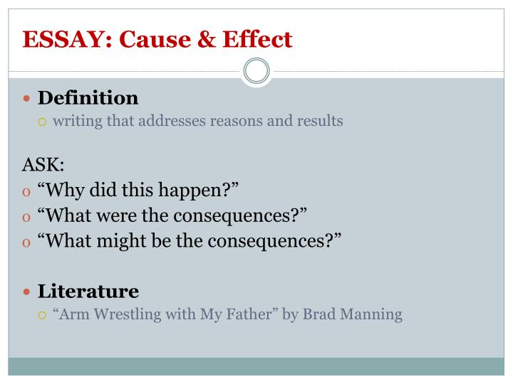 ESSAY: Cause & Effect