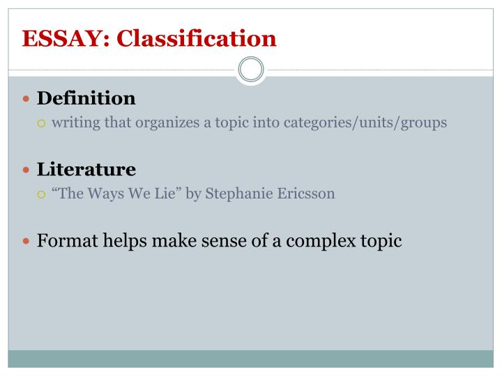 ESSAY: Classification
