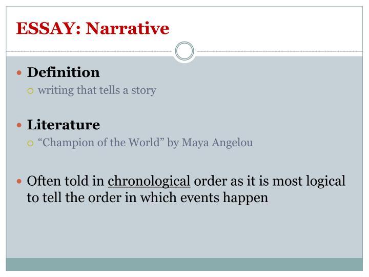 ESSAY: Narrative