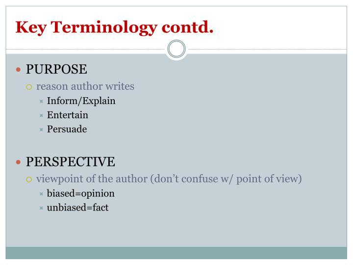 Key Terminology contd.