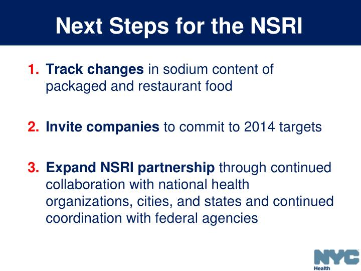 Next Steps for the NSRI