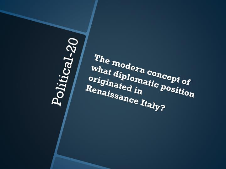 The modern concept of what diplomatic position originated in Renaissance Italy?