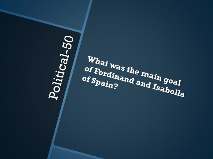 What was the main goal of Ferdinand and Isabella of Spain?