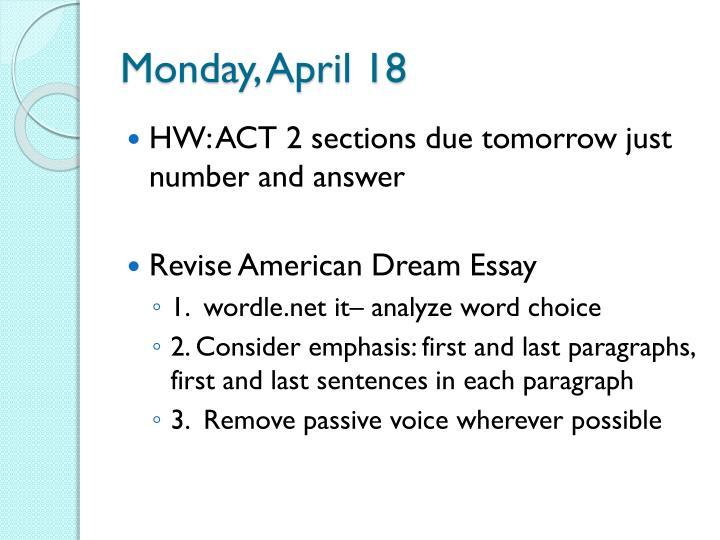 Monday, April 18
