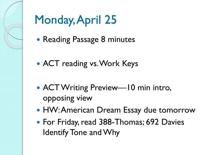 Monday, April 25
