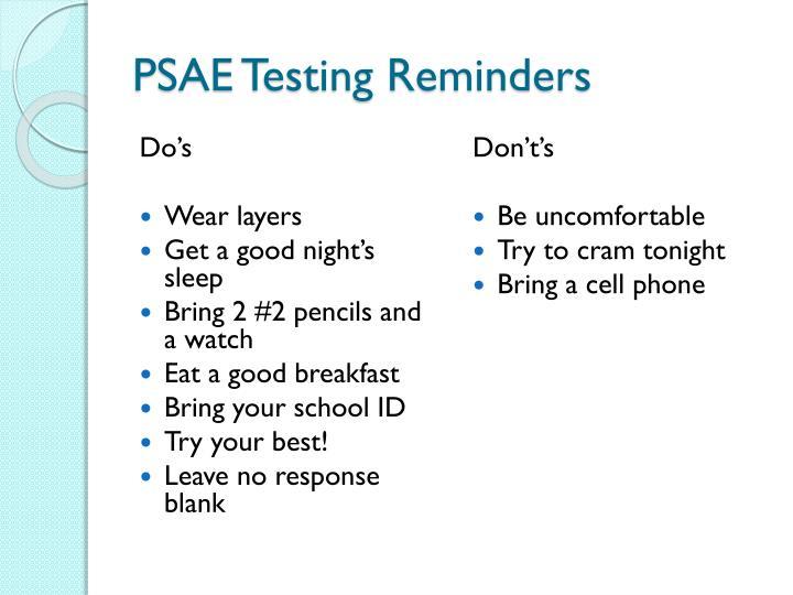 PSAE Testing Reminders