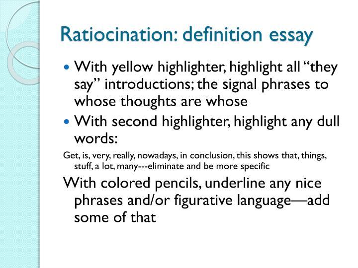 Ratiocination: definition essay