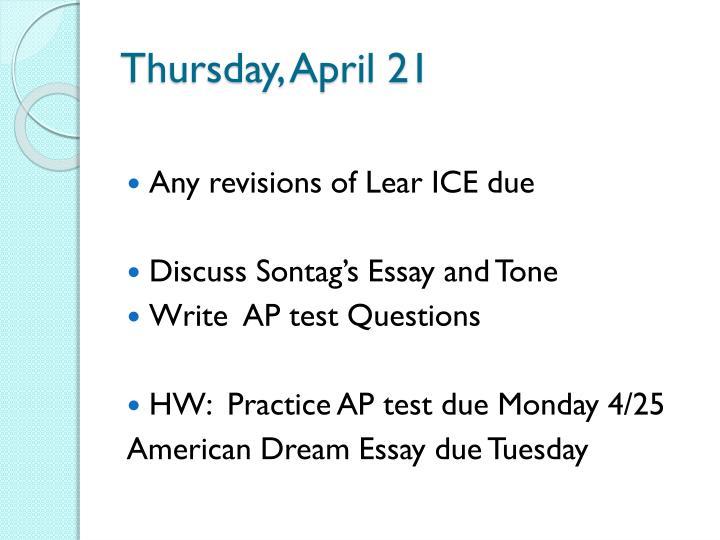 Thursday, April 21