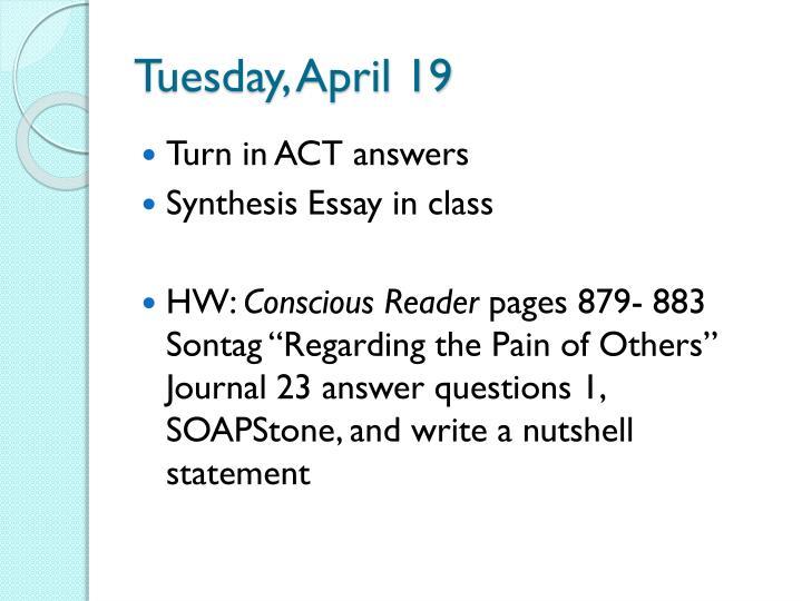 Tuesday, April 19
