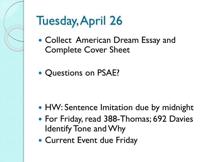 Tuesday, April 26