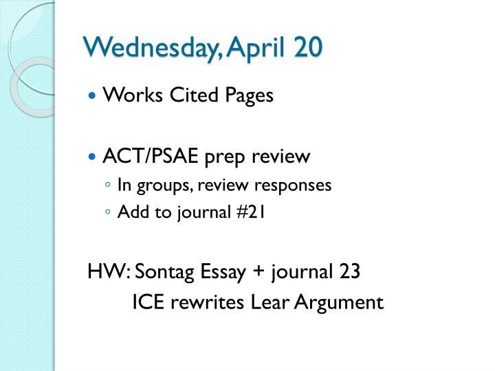 Wednesday, April 20