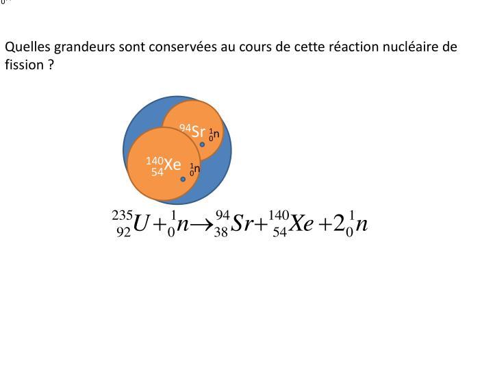Quelles grandeurs sont conservées au cours de cette réaction nucléaire de fission ?