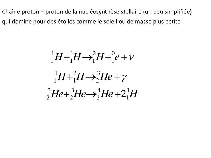 Chaîne proton – proton de la nucléosynthèse stellaire (un peu simplifiée)