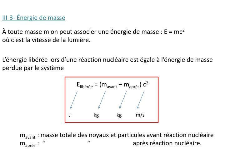 III-3- Énergie de masse