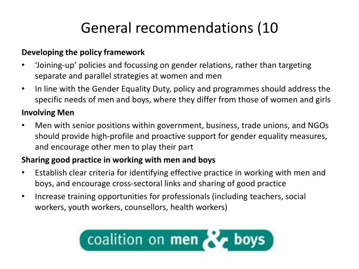 General recommendations (10
