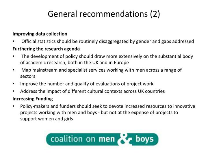 General recommendations (2)