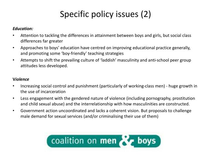 Specific policy issues (2)