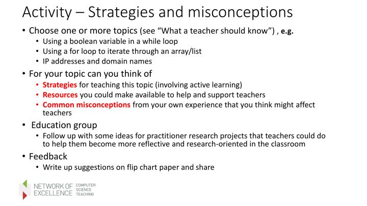Activity – Strategies and misconceptions