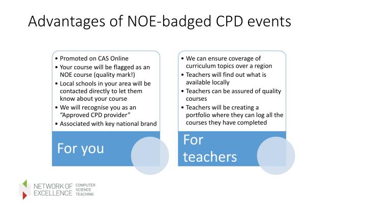 Advantages of NOE-badged CPD events