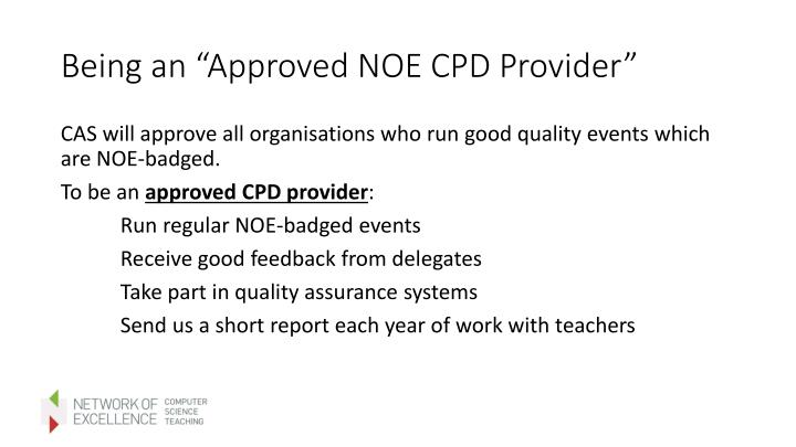 """Being an """"Approved NOE CPD Provider"""""""
