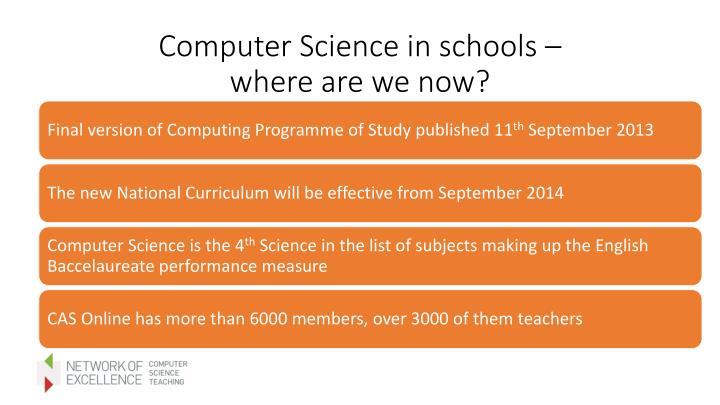 Computer Science in schools –
