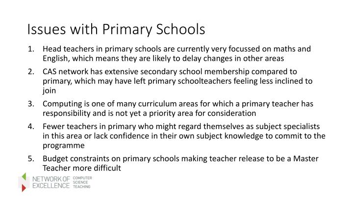 Issues with Primary Schools