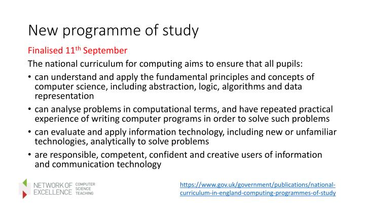 New programme of study