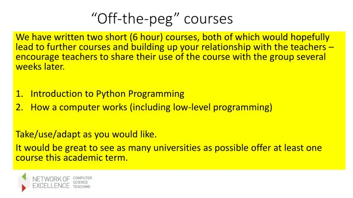 """""""Off-the-peg"""" courses"""