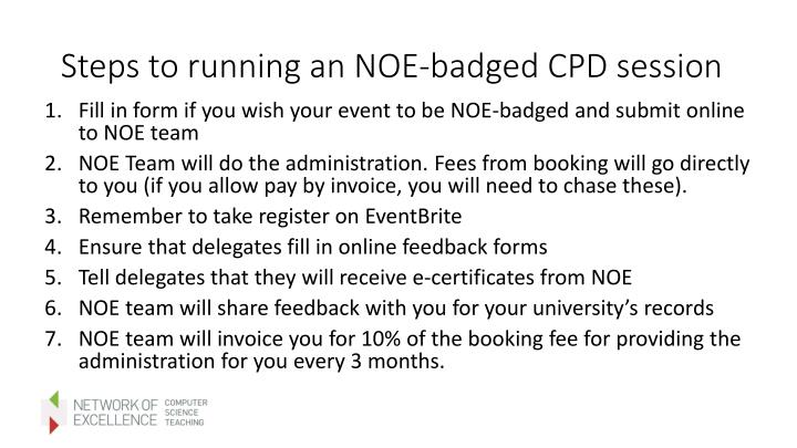 Steps to running an NOE-badged CPD session
