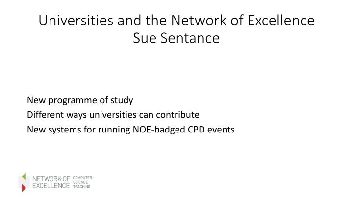Universities and the Network of Excellence