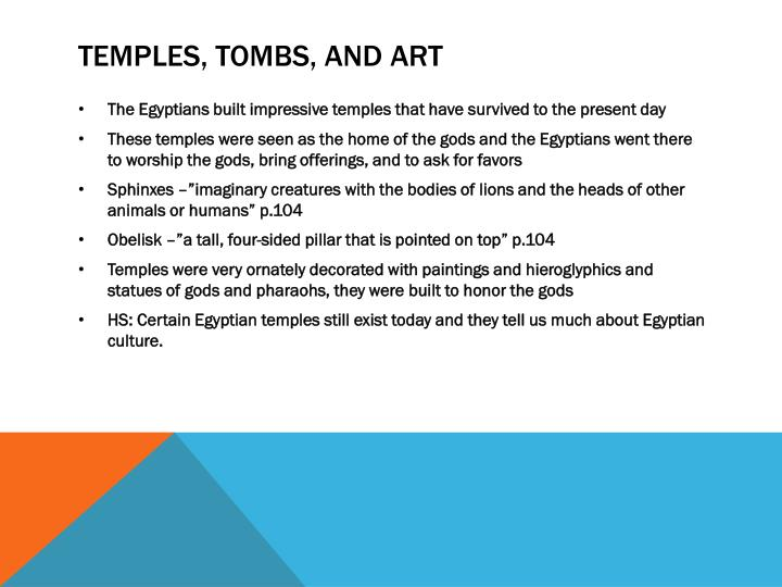 Temples, tombs, and Art