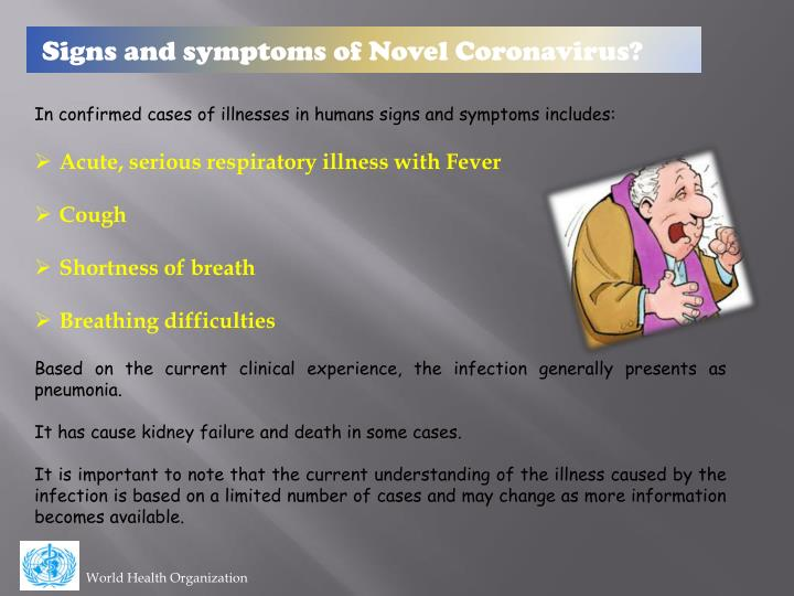 Signs and symptoms of Novel Coronavirus?