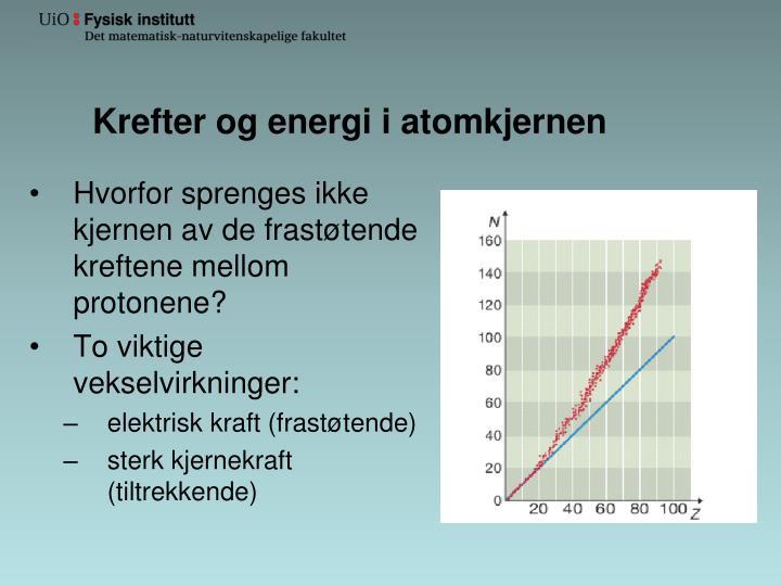 Krefter og energi i atomkjernen