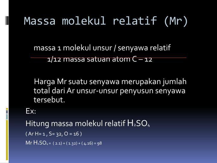 Massa molekul relatif (Mr)