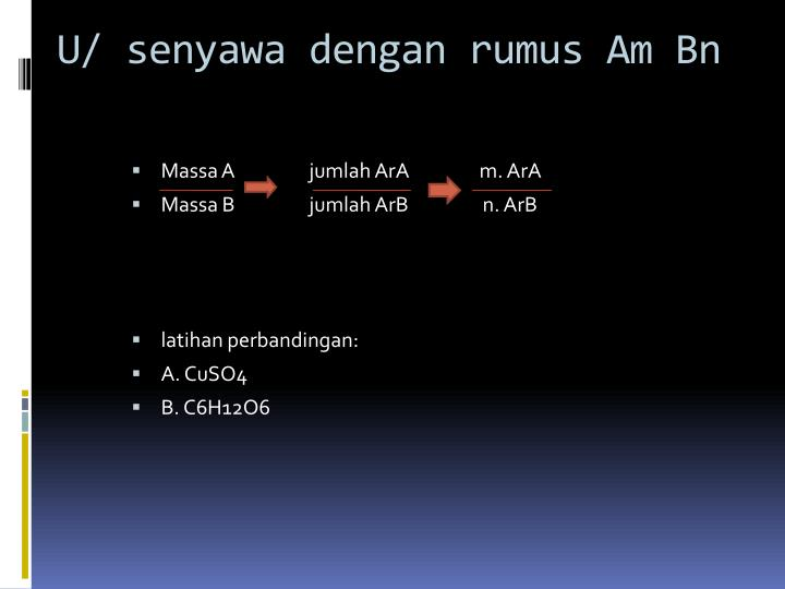 U/ senyawa dengan rumus Am Bn