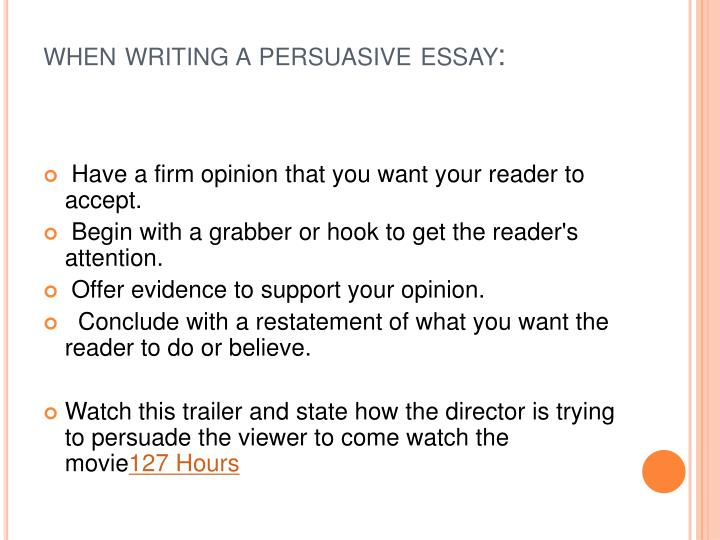 when writing a persuasive essay:
