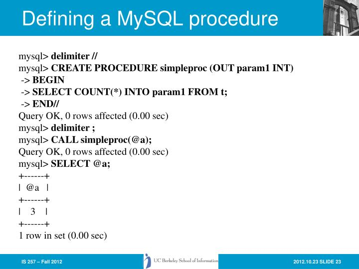 Defining a MySQL procedure