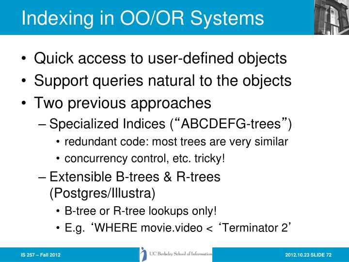 Indexing in OO/OR Systems