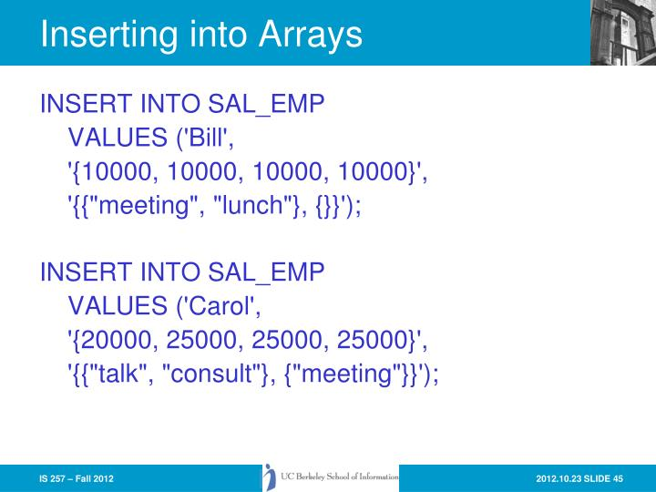 Inserting into Arrays