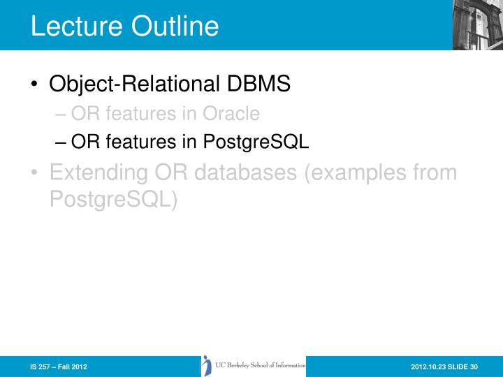 Object-Relational DBMS
