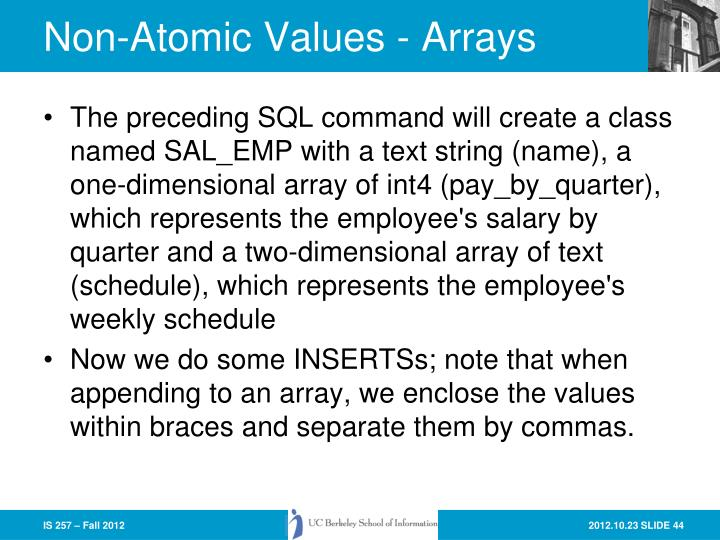 Non-Atomic Values - Arrays