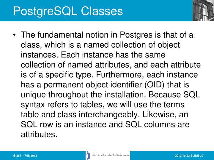 PostgreSQL Classes