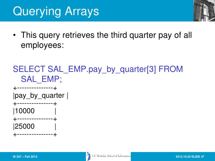 Querying Arrays